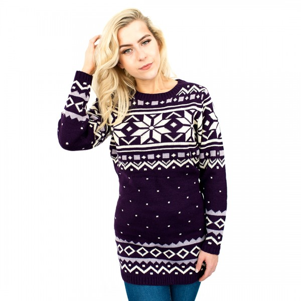 C3101 PE - Ladies Christmas Jumper With Snowflake Pattern Purple