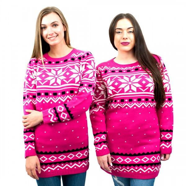 C3101 PK - Ladies Christmas Jumper With Snowflake Pattern Pink