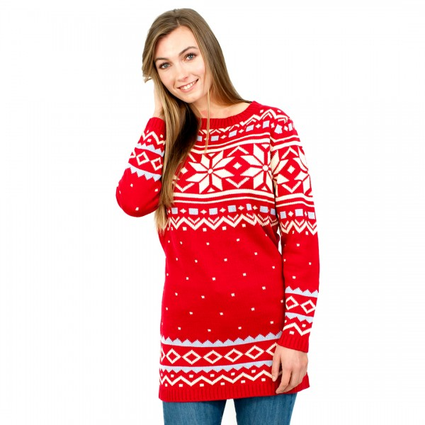 C3101 RD - Ladies Christmas Jumper With Snowflake Pattern Red