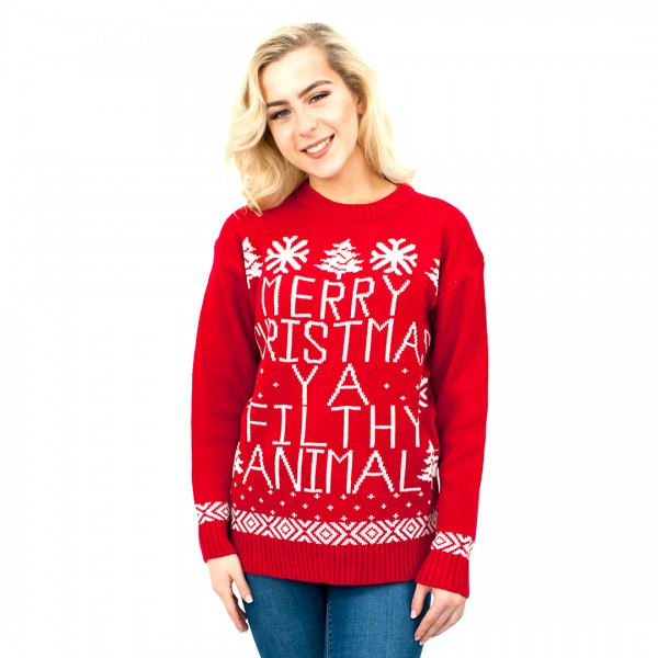 C3102 RD - Ladies Christmas Jumper Red