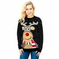 C3103 BK - Ladies Christmas Jumper With Rudolph Pattern Black
