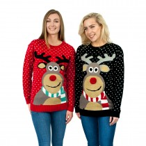 C3103 RD - Ladies Christmas Jumper With Rudolph Pattern Red