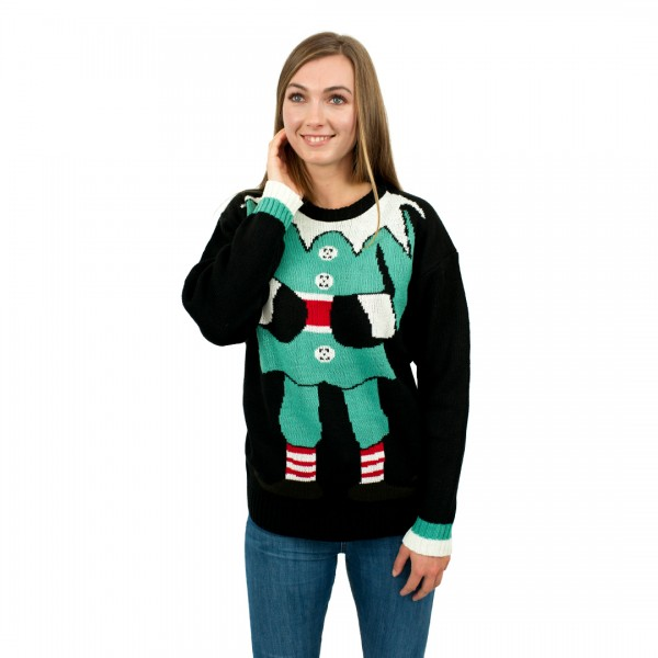C3104 BK - Ladies Christmas Jumper with Elf Pattern Black