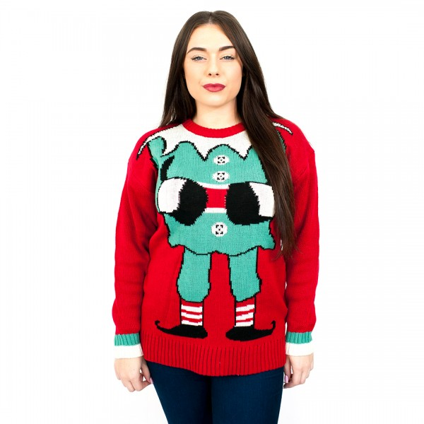 C3104 RD - Ladies Christmas Jumper with Elf Pattern Red