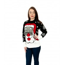 C3105 BK - Ladies Christmas Jumper  with Santa pattern Black