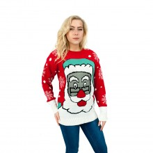 C3105 RD - Ladies Christmas Jumper with Santa Pattern Red