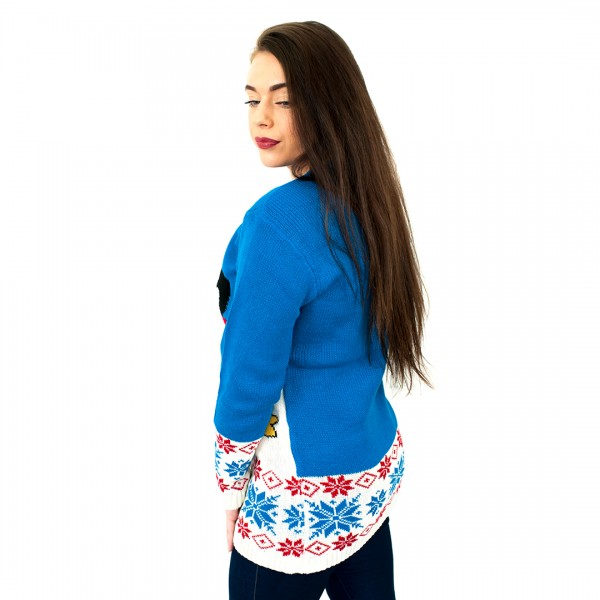 C3107 BE - Ladies Christmas Jumper with Penguin Pattern Blue