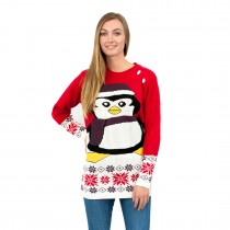 C3107 RD - Ladies Christmas Jumper with Penguin Pattern Red