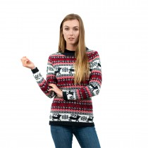 C3109 BE - Ladies Christmas Jumper With Reindeer Striped Pattern Blue