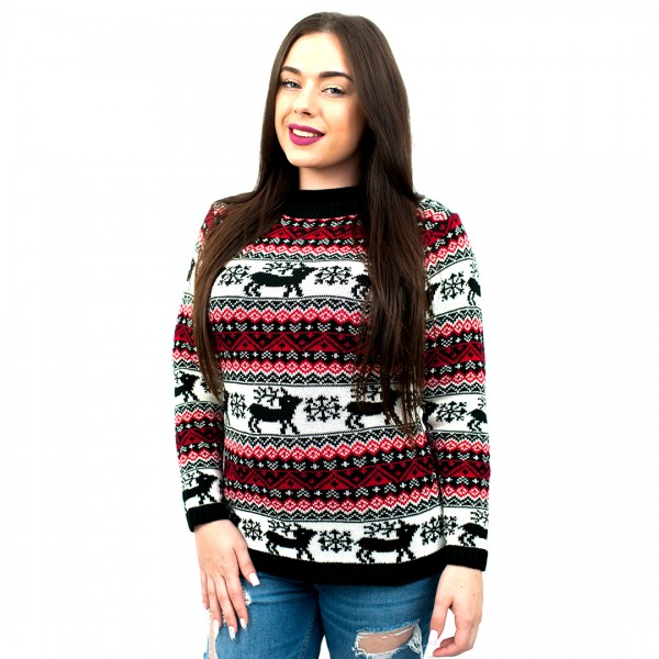 C3109 BK - Ladies Christmas Jumper With Reindeer Striped Pattern Black