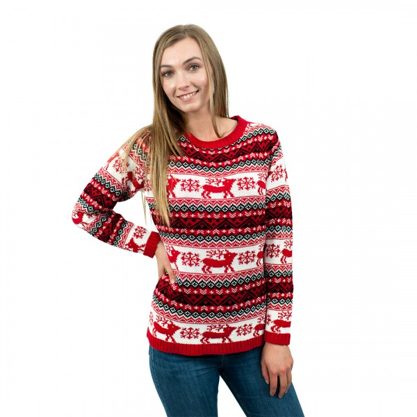C3109 RD - Ladies Christmas Jumper With Reindeer Striped Pattern Red
