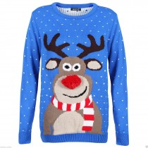 Rudolph - Unisex Christmas Jumper With Fluffy Nose Rudolph Blue