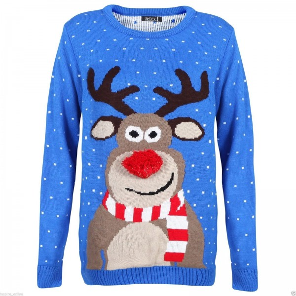 C3002 BE - Men Christmas Jumper With Fluffy Nose Rudolph Blue