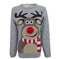 C3002 GY --Men Christmas Jumper With Fluffy Nose Rudolph Grey