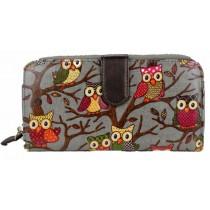 L1109W - Miss Lulu Oilcloth Purse Owl Grey