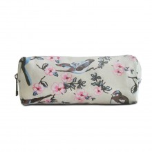 PC-16J BG- Miss Lulu Canvas Pencil Case Birds Beige