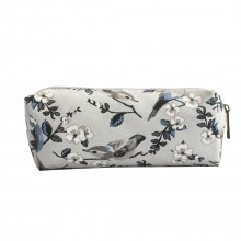 PC-16J GY - Miss Lulu Canvas Pencil Case Birds Grey