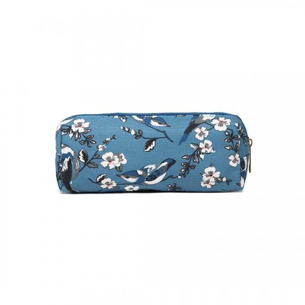 PC-16J D BE- Miss Lulu Canvas Pencil Case Birds dark blue