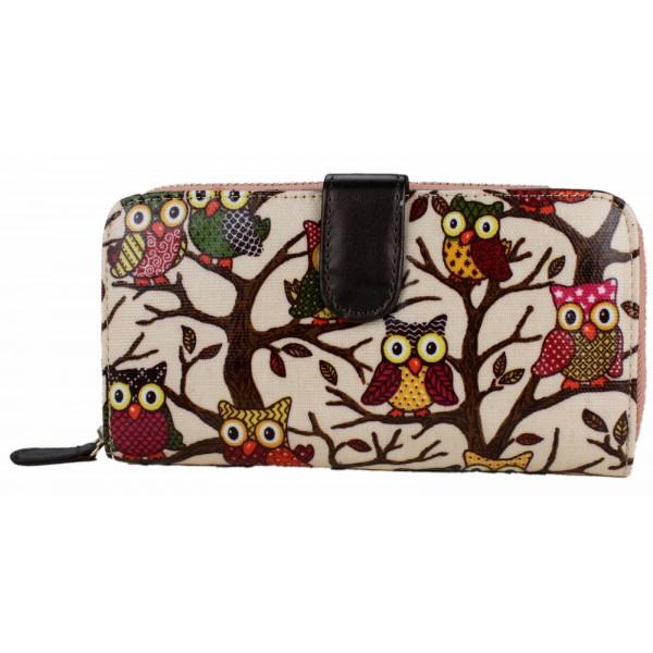 L1109W - Miss Lulu Oilcloth Purse Owl Pink