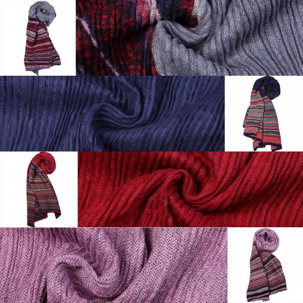 S6421 set - Women Stylish Soft Warm Wrap Stripe Print Shawl Scarf 12 pieces