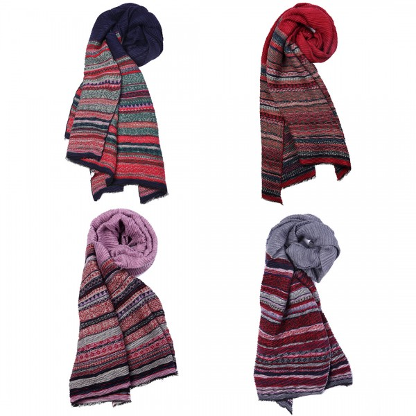 S6421 set - Women Stylish Soft Warm Wrap Stripe Print Shawl Scarf 12 pieces