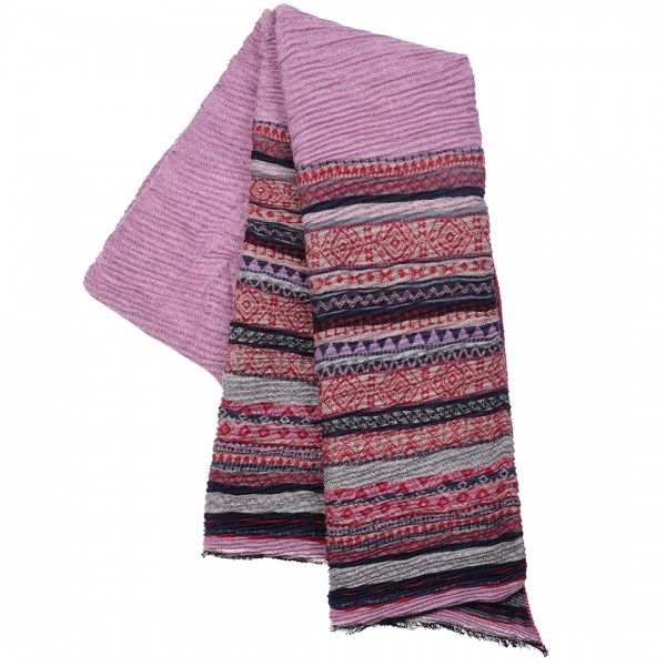 S6421 - Women Stylish Soft Warm Wrap Stripe Print Shawl Scarf 1 piece